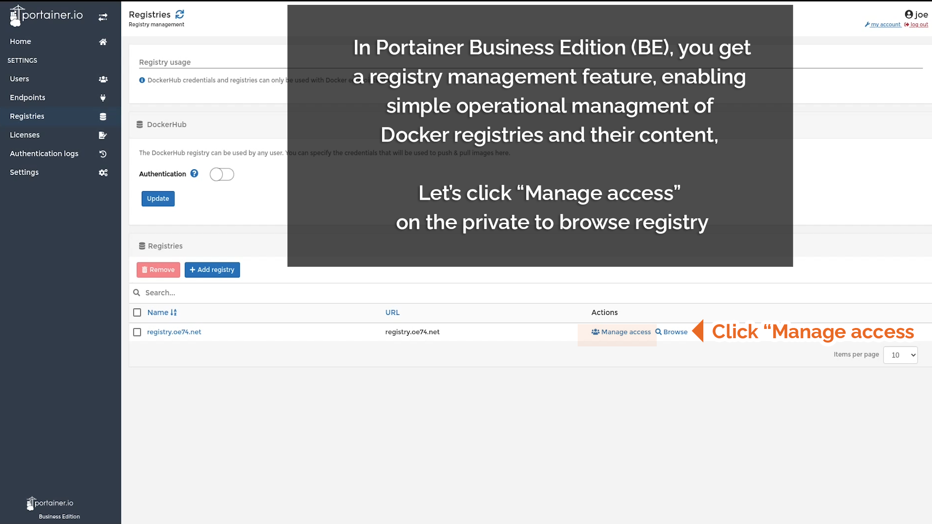 Click Manage access