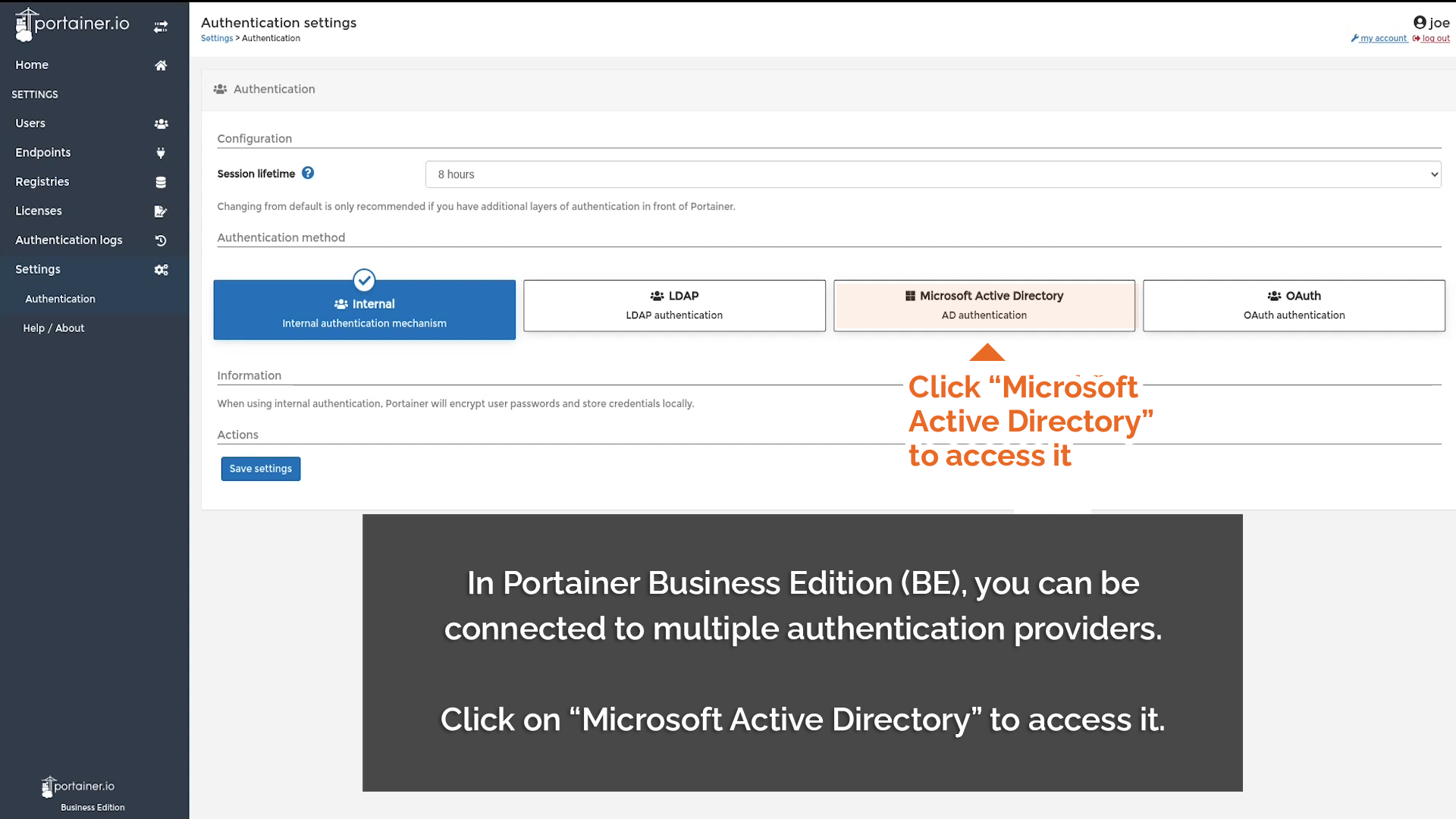 Click Microsoft Active Directory to connect
