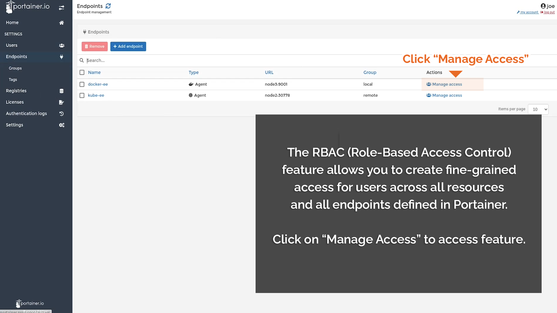 Click on Manage Access