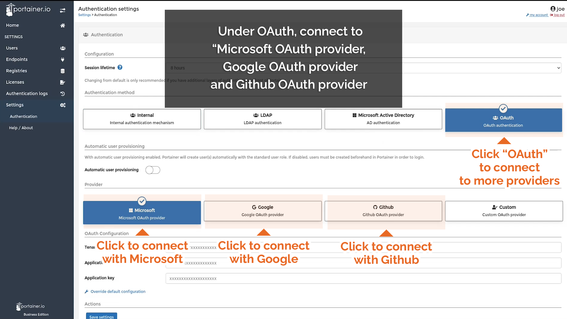 Or, use OAuth to connect to other providers