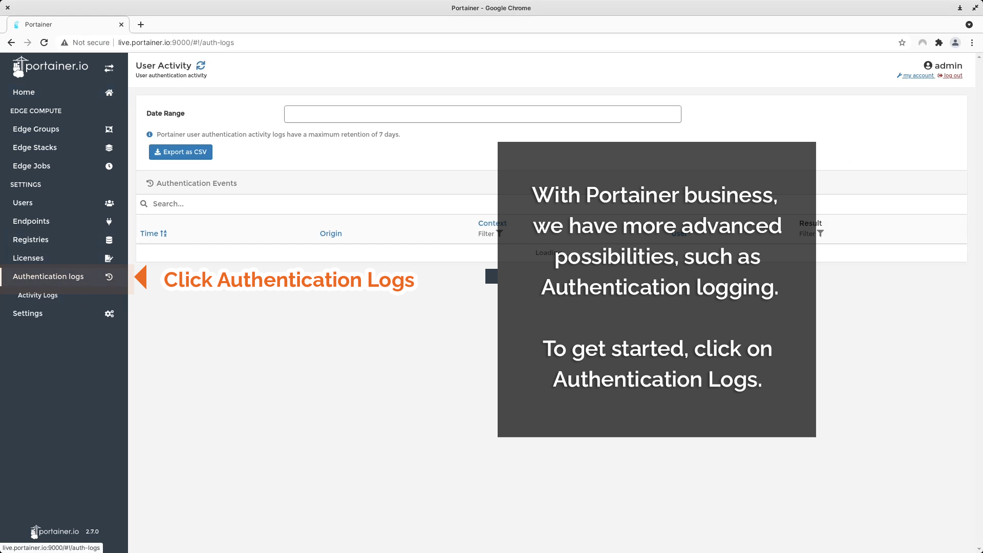 Click Authentication Logs to access log.