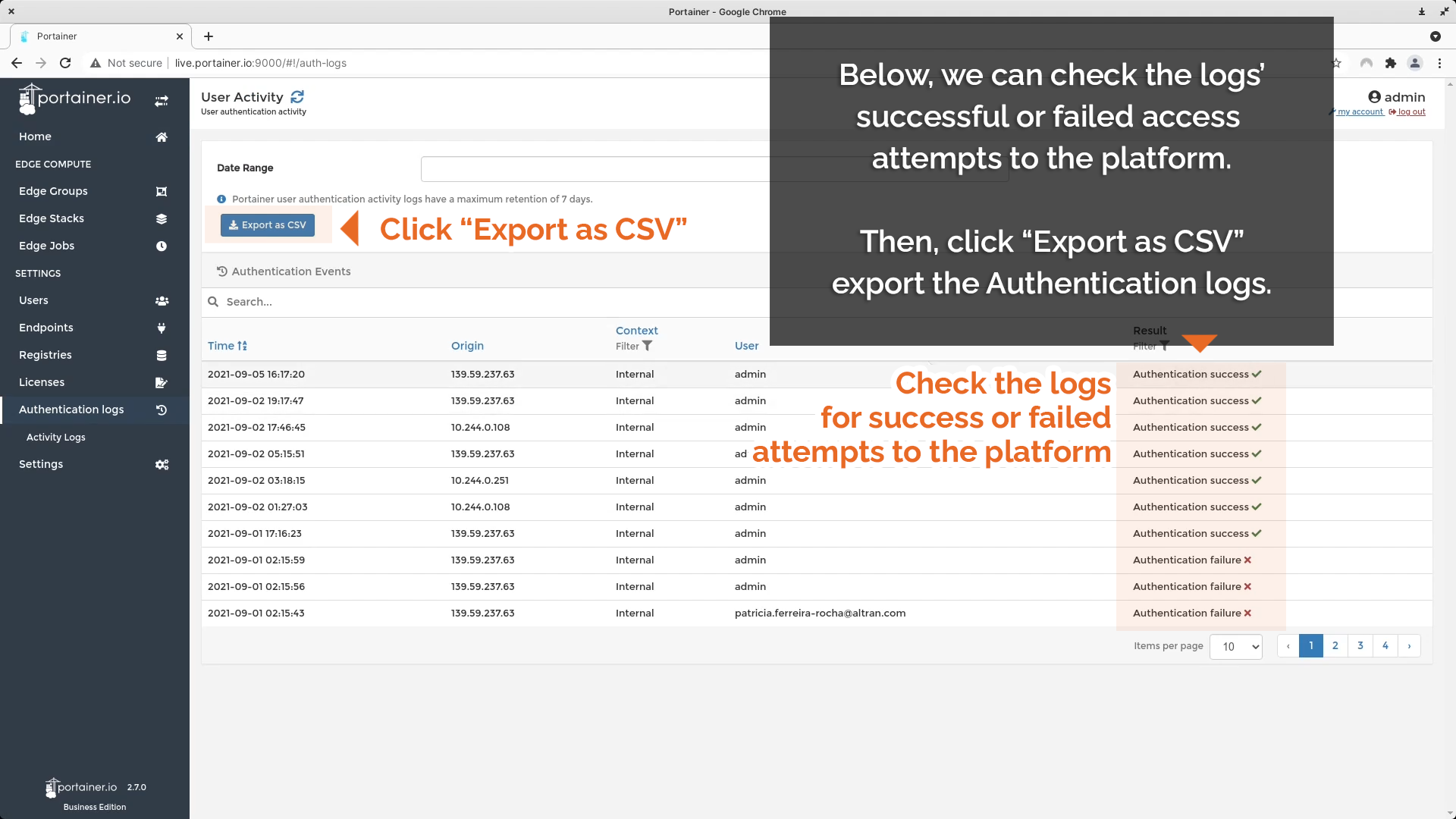Check Authentication logs for success or failure