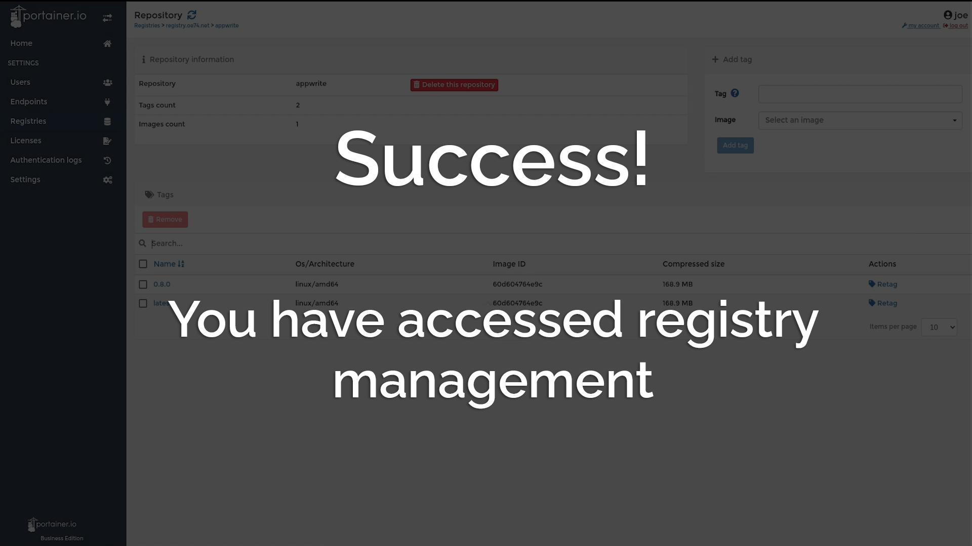 Success! You have registry management