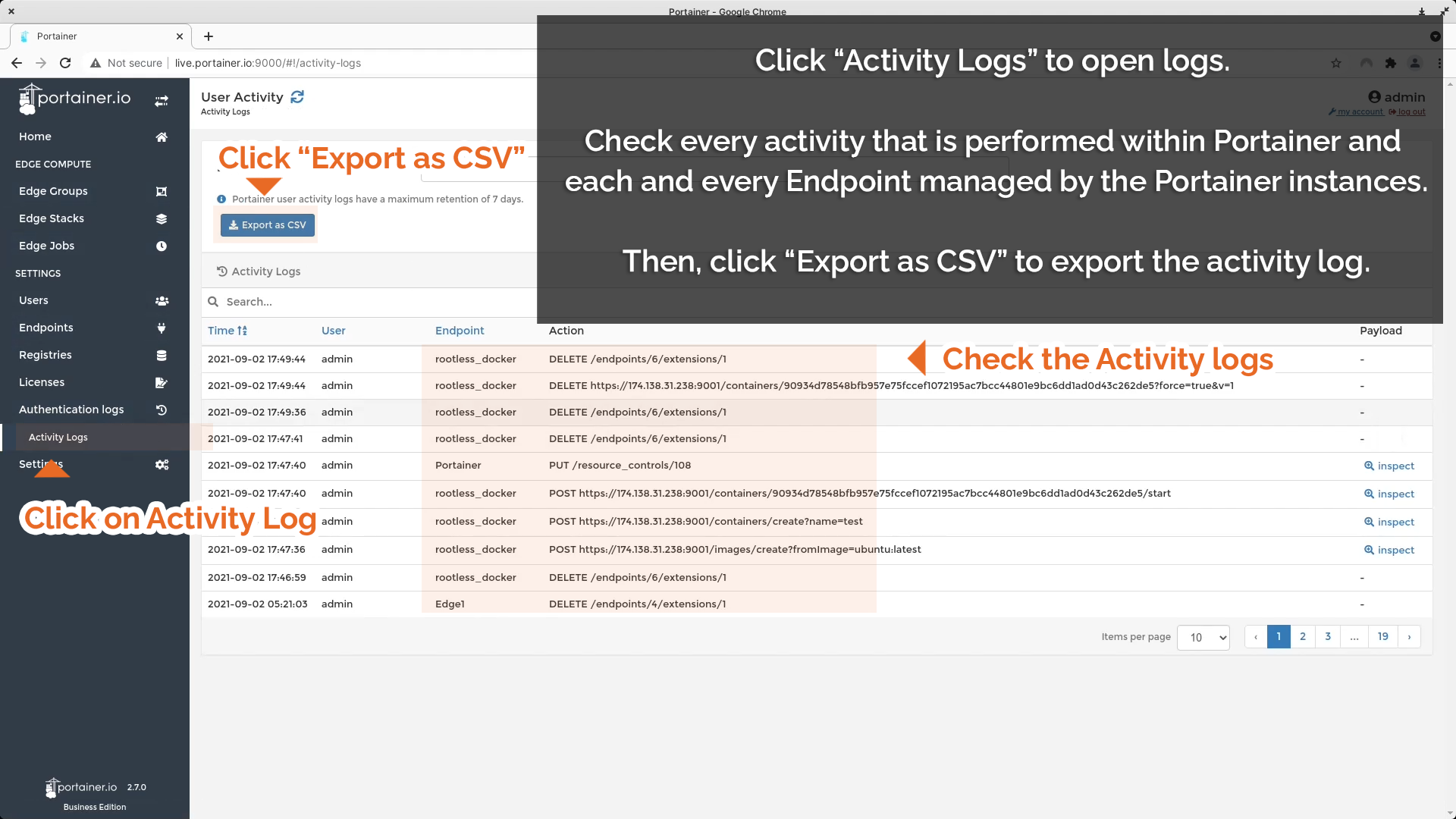 Click on Activity Logs to access logs to check Endpoints. Then, click