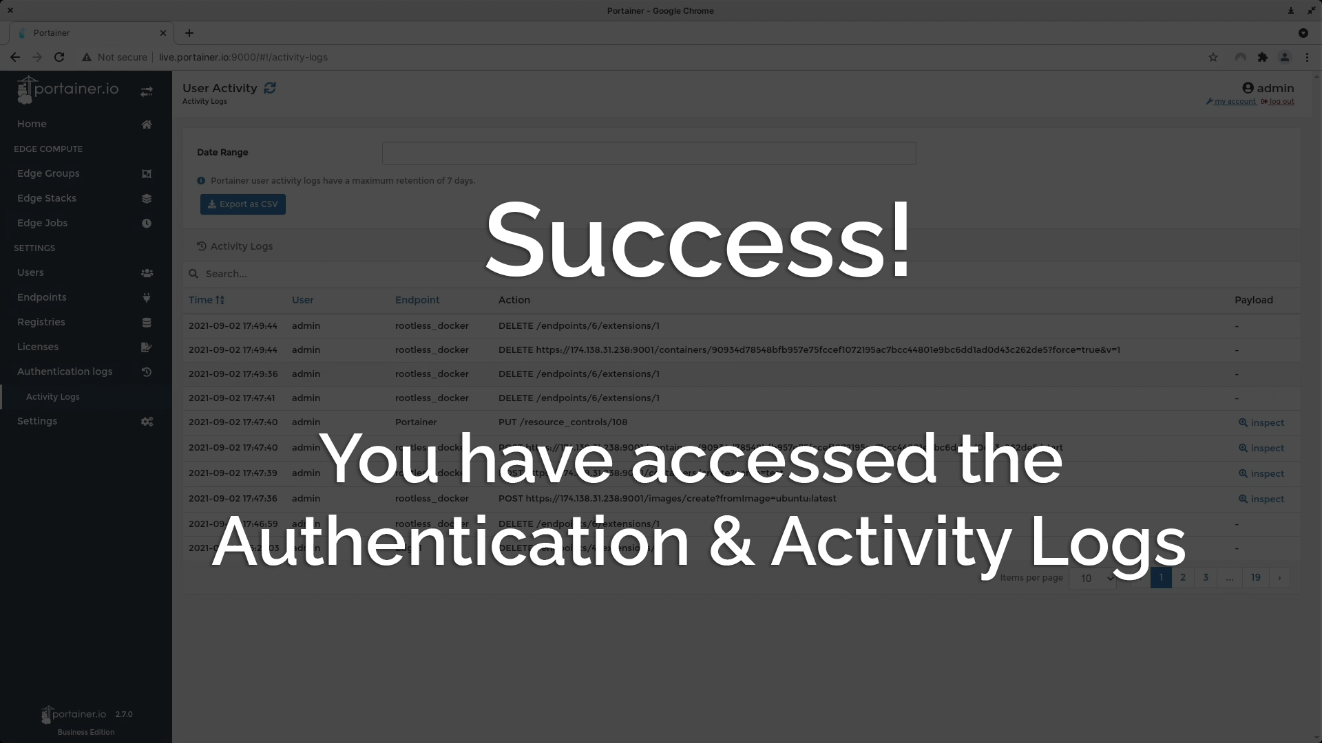 Success! You have accessed the Authentication & Activity logs.
