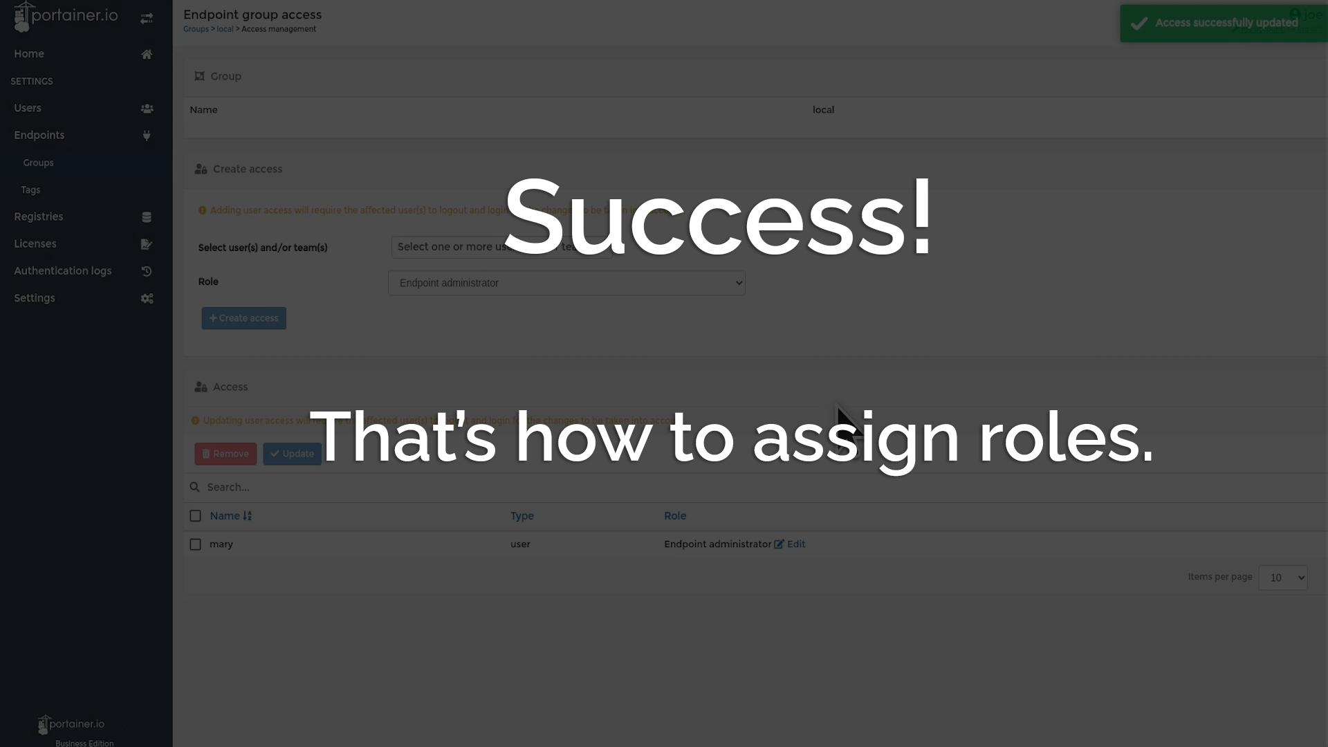Success! Assigned Roles.