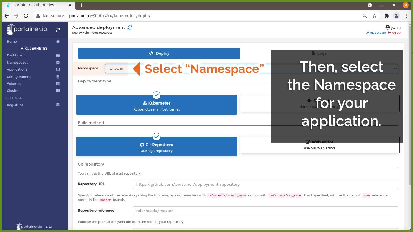Select Namespace
