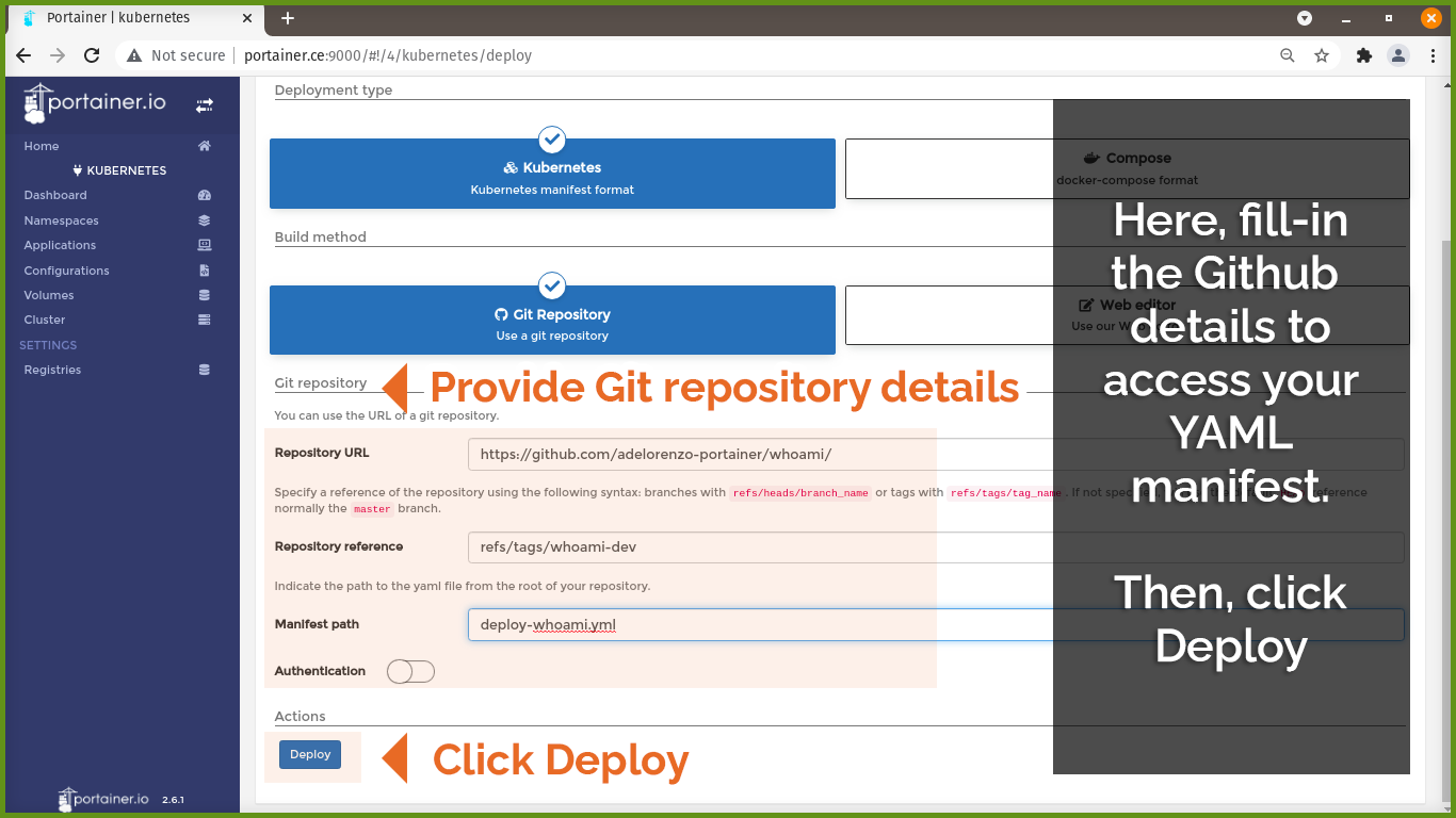 Github details, then click Deploy