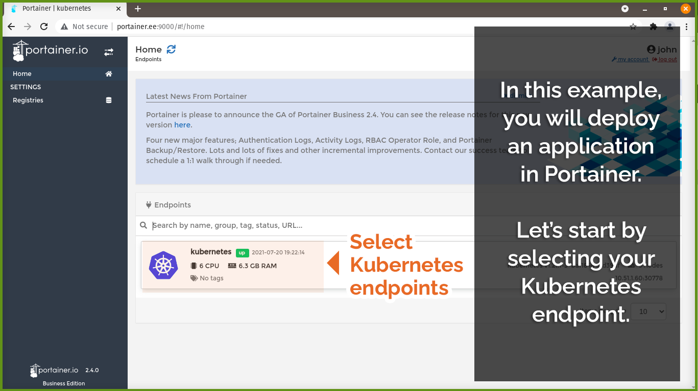 Select Kubernetes endpoints