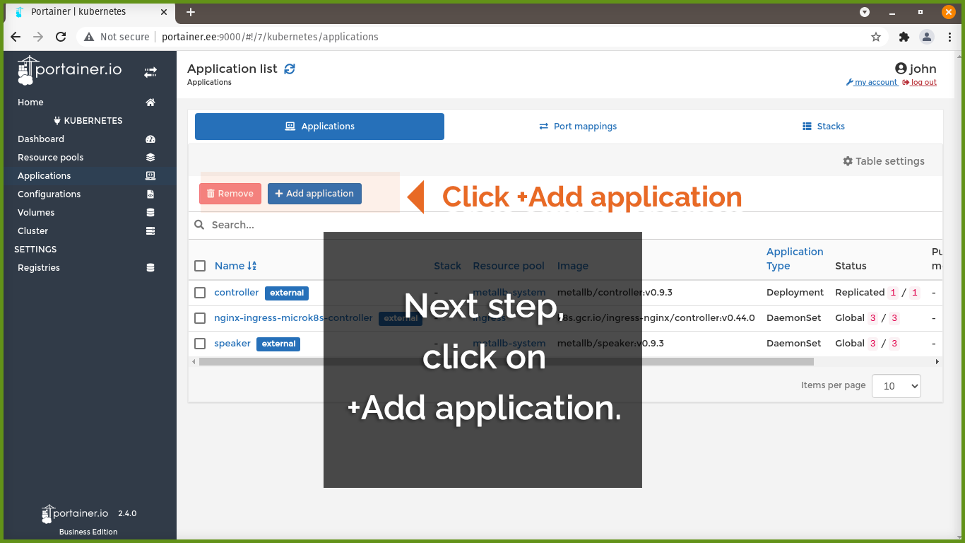 Click +Add application
