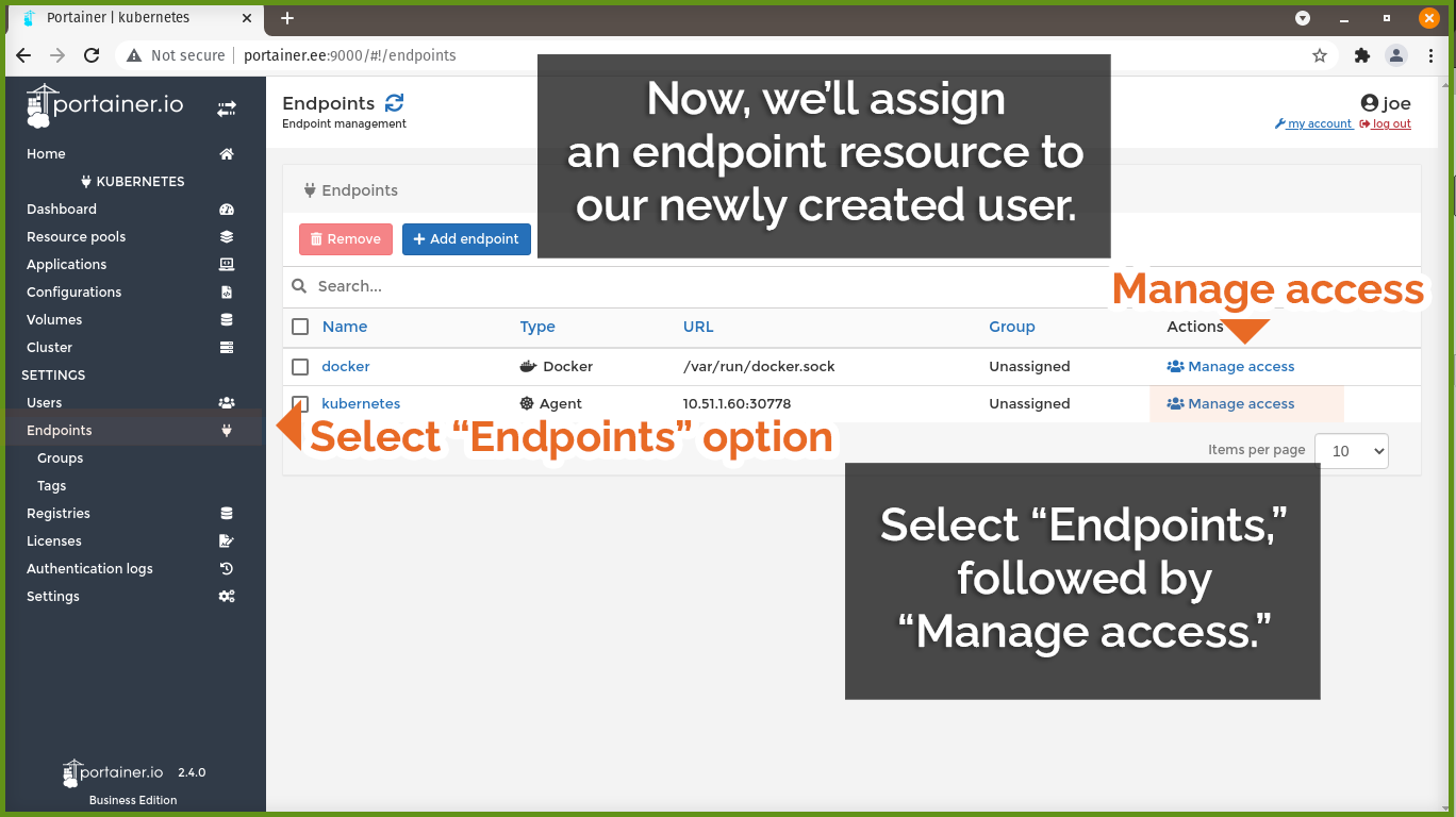 Assign endpoint to user