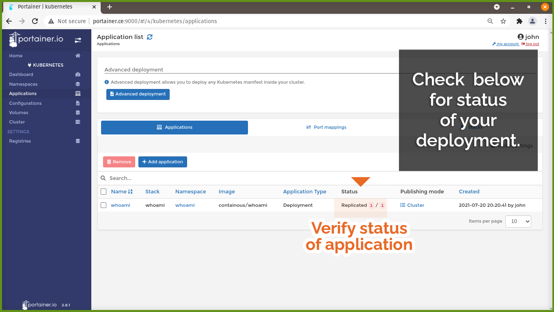 Verify status of application