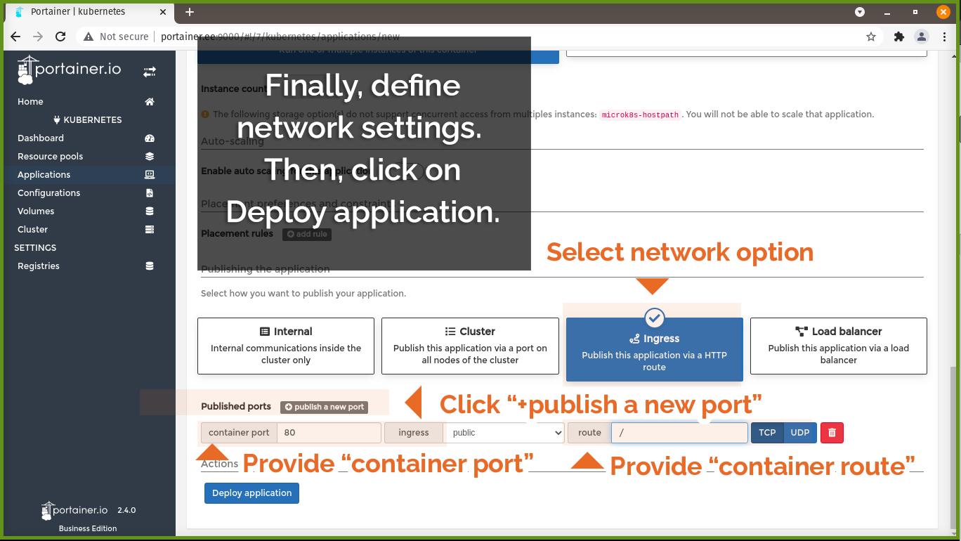 Define network settings