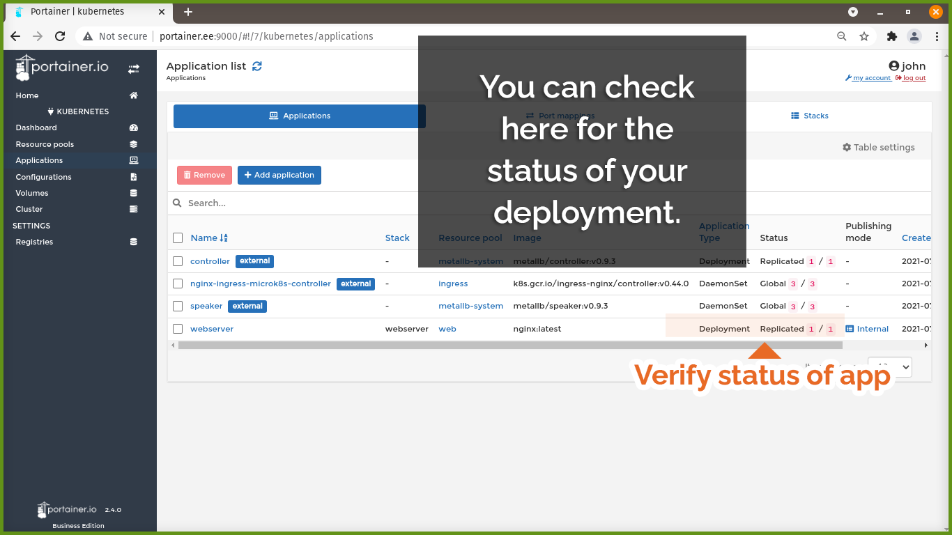Check status of your deployment