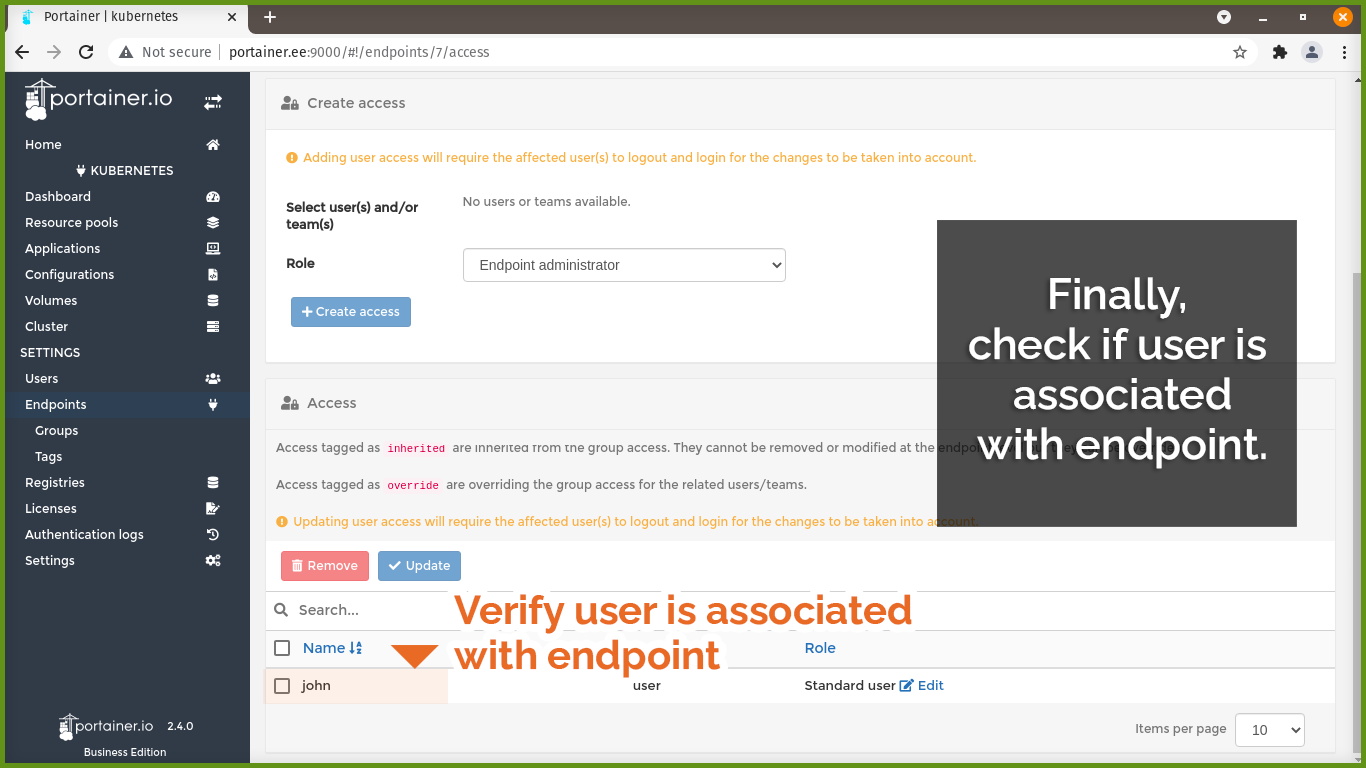 Verify user is associated with endpoint