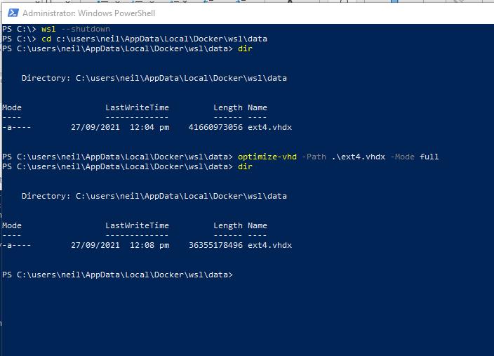 Reclaim disk space by compacting the Docker Desktop WSL disk image
