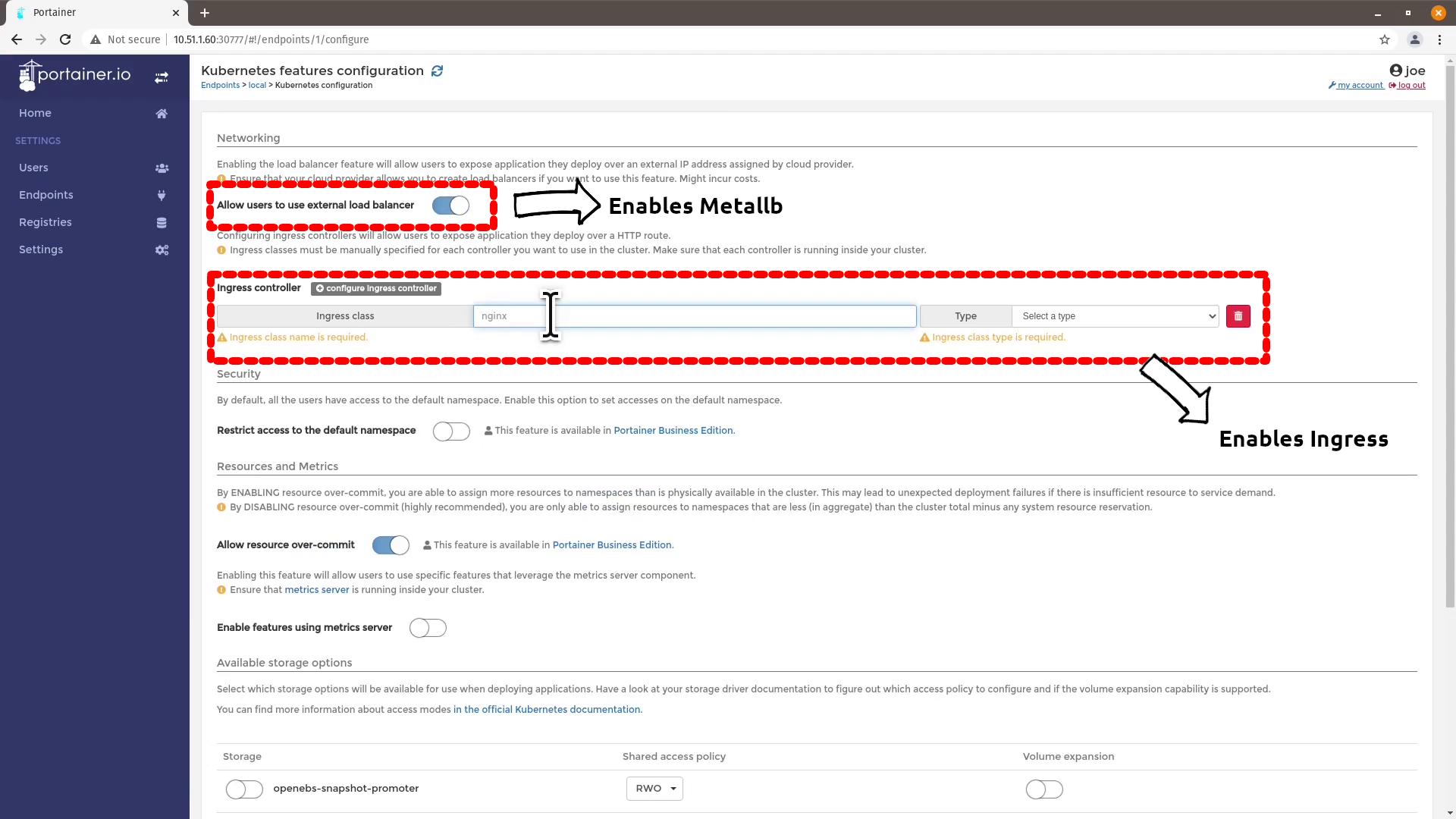 Portainer on MicroK8S + OpenEBS, MetalLB and Ingress